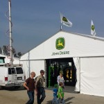 John Deere, with the news van